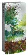White Egret Swamp Portable Battery Charger