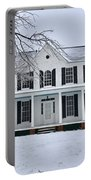 White Farm House During Winter Portable Battery Charger