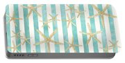 White Finger Starfish Watercolor Stripe Pattern Portable Battery Charger