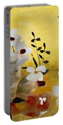 White Floral Collage II Portable Battery Charger