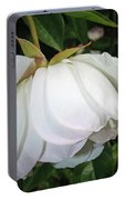 White Floral Portable Battery Charger