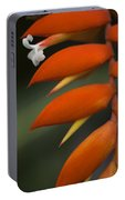 White Flower And Orange Portable Battery Charger