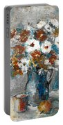 White Flower In Vase And Mug Portable Battery Charger
