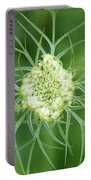 White Flower Spidery Leaves Portable Battery Charger