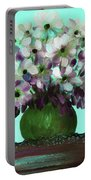 White Flowers In A Vase Portable Battery Charger
