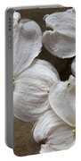 Dogwood White Flowers On Stones Portable Battery Charger