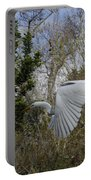 White Heron In Flight Portable Battery Charger
