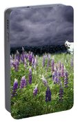 White Horse In A Lupine Storm Portable Battery Charger
