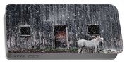 White Horse In A Snowstorm  Portable Battery Charger