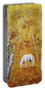 White Horse In Golden Woods Portable Battery Charger