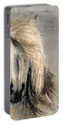 White Horse On Silver Leaf Portable Battery Charger
