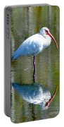 White Ibis And Reflection Portable Battery Charger