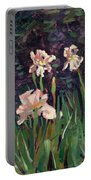 White Irises Portable Battery Charger