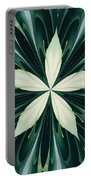 White Leaves In A Green Forest Kaleidoscope Portable Battery Charger