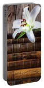 White Lily On Antique Books Portable Battery Charger