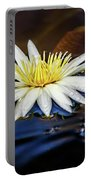 White Lily On Pond Portable Battery Charger