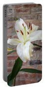White Lily Portrait Portable Battery Charger