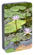 White Lotus Flowers Portable Battery Charger