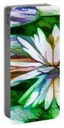 White Lotus In The Pond Portable Battery Charger