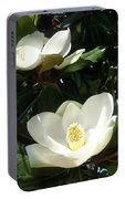 White Magnolia Flowers 01 Portable Battery Charger