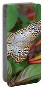White Peacock Butterfly Portable Battery Charger