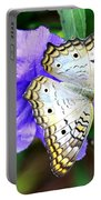 White Peacock Butterfly On Purple 2 Portable Battery Charger