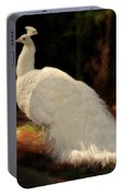 White Peacock In Golden Hour Portable Battery Charger