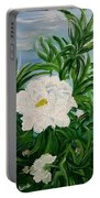 White Peonies Portable Battery Charger