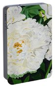 White Peony Garden Portable Battery Charger