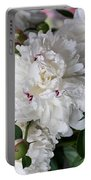 White Peony With Red Traces Portable Battery Charger