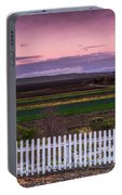 White Picket Fence Looking Over Farmland  Portable Battery Charger