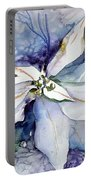 White Poinsettia Portable Battery Charger