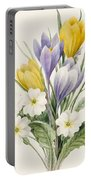 White Primroses And Early Hybrid Crocuses Portable Battery Charger