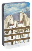 White Quarter Horses In Snow Portable Battery Charger