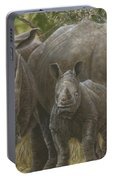 White Rhino Family - The Face That Only A Mother Could Love Portable Battery Charger