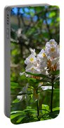 White Rhododendron Blooms Portable Battery Charger
