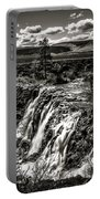 White River Falls Black  And White Portable Battery Charger