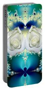 White Roses  And Blue Satin Bouquet Fractal Abstract Portable Battery Charger
