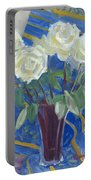 White Roses With Red And Blue Portable Battery Charger