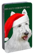 White Scottish Terrier Christmas Plaid Portable Battery Charger