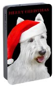 White Scottish Terrier Dog Christmas Card Portable Battery Charger