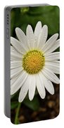 White Shasta Daisy In The Rain Portable Battery Charger