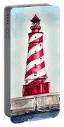 White Shoal Lighthouse Michigan Nautical Light House Red And White Candycane Stripes Portable Battery Charger