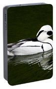 White Smew  Duck On Silver Pond Portable Battery Charger