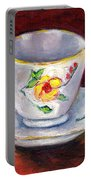 White Tea Cup With Yellow Flowers Grace Venditti Montreal Art Portable Battery Charger