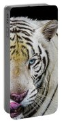 White Tiger Closeup Portable Battery Charger