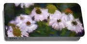 White Triangle Flowers Portable Battery Charger
