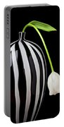 White Tulip In Striped Vase Portable Battery Charger