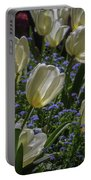 White Tulips In The Garden Portable Battery Charger