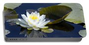 White Waterlily Portable Battery Charger